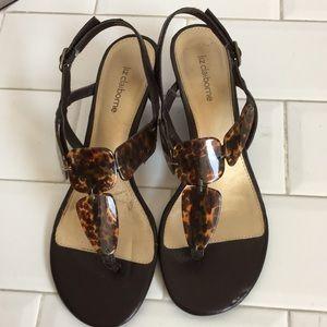 Liz Claiborne   Sandals. Size 8.5 Brown Wedge heel